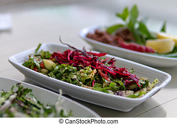 Vegetable salads in Gaziantep - Vegetables on table for ...