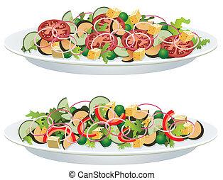 vegetable salads - vector vegetable salads on a plate