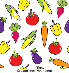 Vegetable seamless background. Vector illustration.