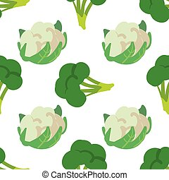 Vegetable seamless pattern with cauliflower and broccoli on a white background. Healthy food backdrop for your design. Vector illustration.