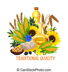 Vegetable seed and nut cooking salad oils, vector - Natural ...