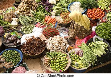 Vegetable Seller at Wet Market - Vegetable seller at a wet ...