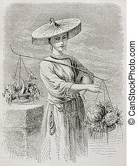 Vegetable seller - Old illustration of vegetable seller in...