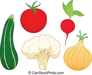 Vegetable set 1 - Vegetable set: zucchini, tomato, radish, ...