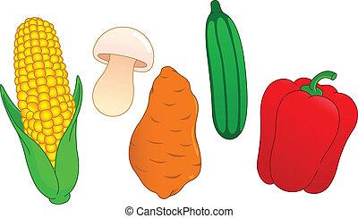 Vegetable set: corn, mushroom, sweet potato, cucumber and pepper