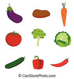 vegetable set icon in color illustration