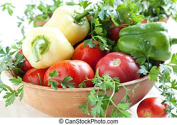 Vegetable set in a ceramic bowl