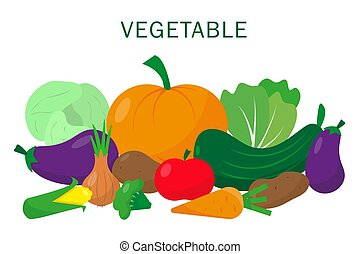Vegetable set on white background.