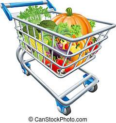 Vegetable Shopping Cart Trolley - An illustration of a...