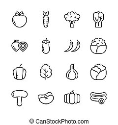 Vegetable simple outline icon set. Vector illustration