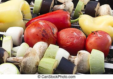 Vegetable skewers Closeup