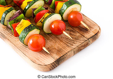 Vegetable skewers isolated on white background