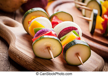 Vegetable skewers.
