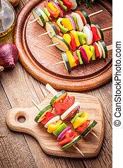Vegetable skewers. - Vegetable skewers prepared for baking....