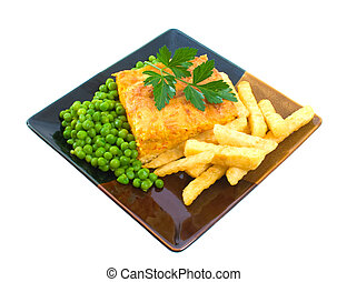 Vegetable Slice with Chips and Peas