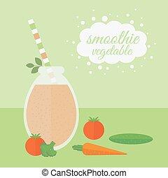 Vegetable smoothie in jar