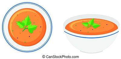 Vegetable soup in bowls