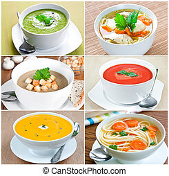 Vegetable Soup - Collage of six images with selection of...