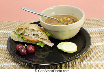 vegetable soup with ciabatta