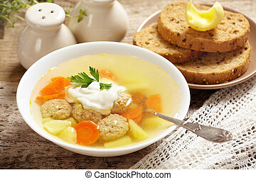 vegetable soup with meat balls
