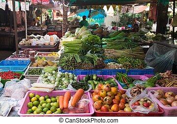 Vegetable stall in thai market