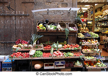 Vegetable stand in the city center of Florence