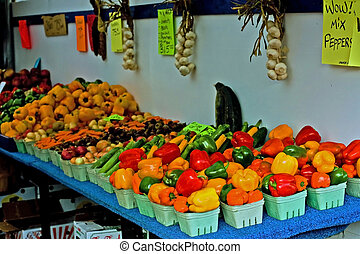 Vegetable stand in farmer's market.