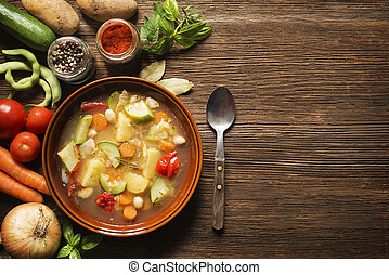 Vegetable stew - Fresh vegetable stew on wooden background ...