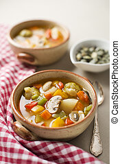 Vegetable stew - Healthy hot vegetable stew close up shoot