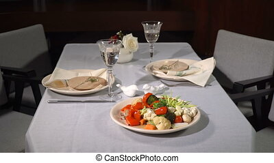 Vegetable stew on the served table - Vegetable stew on a...
