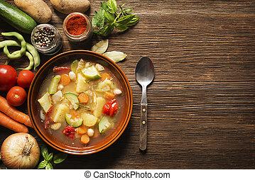 Vegetable stew - Fresh vegetable stew on wooden background...