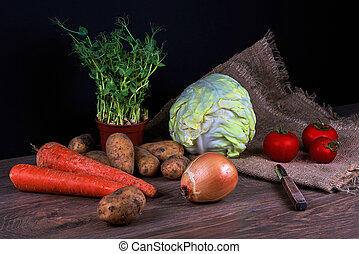 Vegetable still life. Cabbage, potato, onion sprouted peas, carrots and tomatoes