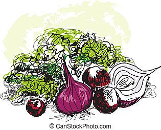 Vegetable still life. Hand drawn graphic illustration
