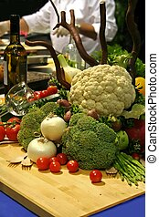 Vegetable still life on restaurant kitchen