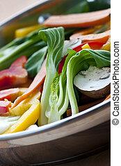 Vegetable stir fry of bok choy mushroom peppers carrots