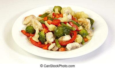 Vegetable Stir Fry - Eating Chicken Meat and Vegetable Stir...