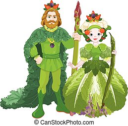 Vegetable the Royal Couple - Illustration of vegetable the...