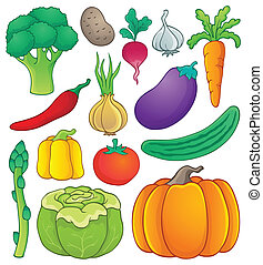 Vegetable theme collection 1 - eps10 vector illustration.