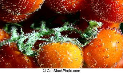 Vegetable tomatoes in water bubbles