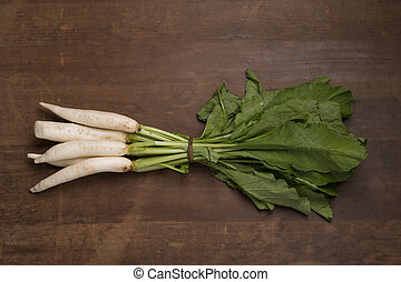Vegetable: Top view of Bunch of Radishes on Wooden Background