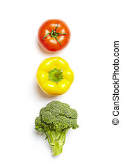 Vegetable traffic light concept on white background