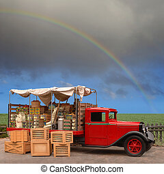 Vegetable Trusk - Vintage produce truck parked on the side...