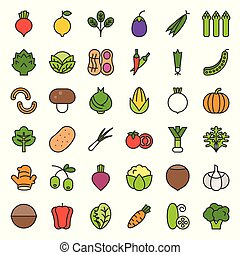 Vegetable vector icon set, filled outline style