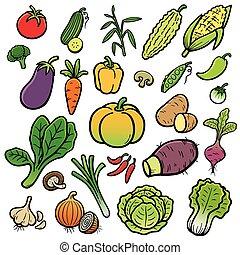 Vegetable - Vector Illustration of Cartoon vegetable set
