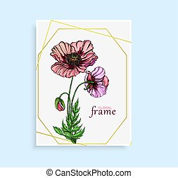 Vegetable vector set of flower of poppy. Round frame. Poppy flowers.