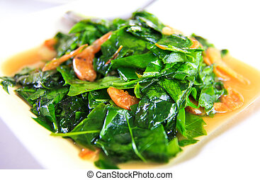 Vegetable with fried shrimp