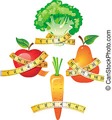 Vegetable with measuring tape