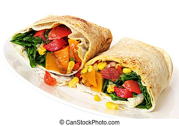 Wrap sandwich filled with healthy salad and roasted vegetables.