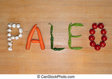 Vegetable writing: Paleo - The word 'Paleo' written with ...