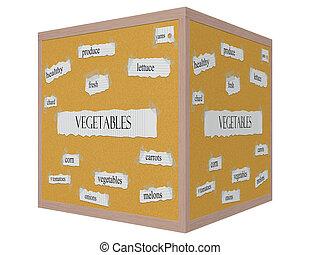 Vegetables 3D cube Corkboard Word Concept